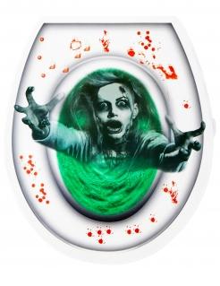 Zombie WC-Aufkleber Halloween-Deko grün-weiß-rot