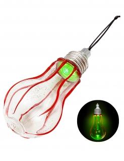 Horror-Glühbirne Halloween-Raumdeko silberfarben-grün-rot 11 cm