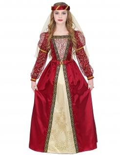 Mittelalterliche Prinzessin Mädchen-Kostüm rot-goldfarben