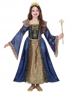 Mittelalterliche Winter-Königin Mädchen-Kostüm blau-goldfarben