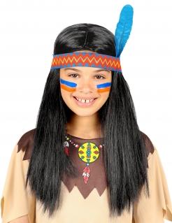 Indianer-Perücke mit Band und Feder für Kinder bunt