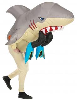 Aufblasbares Kostüm Hai-Attacke Hai-Kostüm für Erwachsene grau-beige-rot