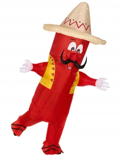Mexikanische-Chili-Kostüm aufblasbares Kostüm rot-gelb-braun