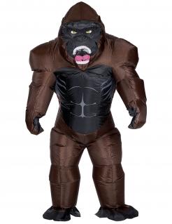 Aufblasbares Gorilla-Kostüm für Erwachsene braun-schwarz