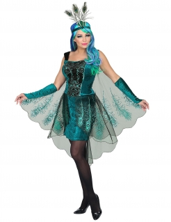 Majestätisches Pfau-Kostüm für Damen Karnevalskostüm türkis-schwarz