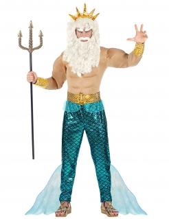 Neptun-Kostüm für Herren Poseidon-Kostüm für Karneval blau-gold