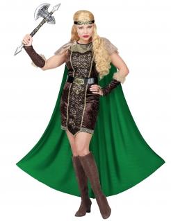 Wikinger-Damenkostüm mit Fell Karnevalskostüm grün-braun