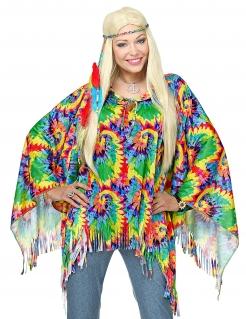 Hippie-Poncho Hippie-Kostüm Karnevalskostüm für Damen bunt