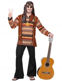 Hippie-Kostüm für Herren Karnevalskostüm braun-schwarz
