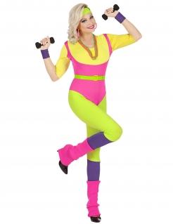 Sportliche Aerobic-Lehrerin aus den 80ern Damen-Kostüm bunt