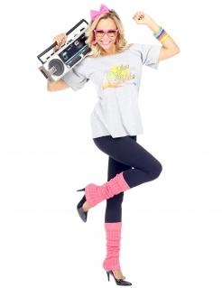 80er Jahre-Kostüm für Damen Faschingskostüm weiss-pink