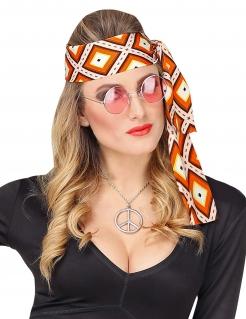 70er Jahre-Stirnband für Damen Karnevals-Accessoire orange-weiss