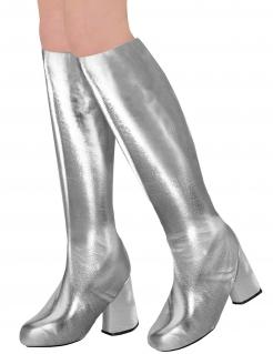 Kniestiefel für Damen 60er oder 70er Motto-Party silber