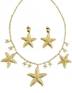 Meerjungfrau-Schmuckset für Damen Seestern Karnevals-Accessoire 2-teilig gold
