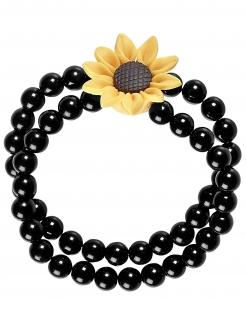 Hippi-Armband Sonnenblumen-Arband Karnevals-Accessoire schwarz-gelb