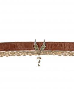 Steampunk-Schmuck Halsband mit Flügeln und Zahnrädern braun-gold