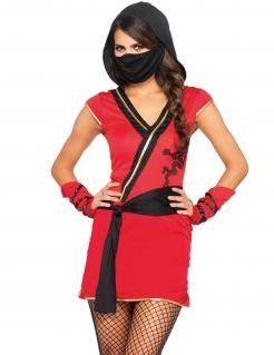 Ninja-Kostüm für Damen Faschingskostüm rot-schwarz