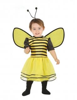 Süsses Bienen-Kostüm mit Flügeln Kleinkinder-Kostüm gelb-schwarz