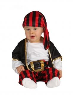 Baby-Piratenkostüm Karnevalskostüm für Babys schwarz-rot-weiss