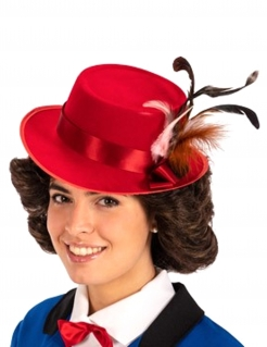 Eleganter Hut mit Federn für Damen rot 28,5 cm