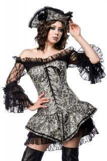 Sexy Piratin-Kostüm für Damen Faschingskostüm grau-schwarz