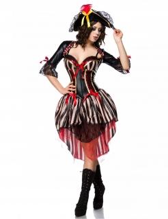 Sexy Piraten-Kostüm für Damen Faschingskostüm schwarz-rot-beige