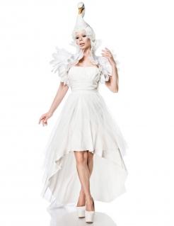 Sexy Schwanen-Kostüm für Damen Faschingskostüm weiss
