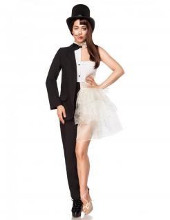 Mann-Frau-Kostüm für Damen Faschingskostüm schwarz-weiss