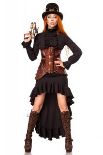 Steampunk-Kämpfer Damenkostüm Faschingskostüm schwarz-braun