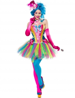 Lady Candy Clownskostüm für Damen bunt