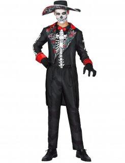 Tag der Toten Anzug Halloween-Kostüm für herren schwarz-bunt