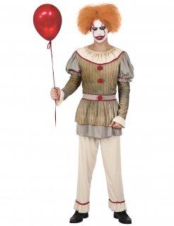 Gruseliges Horror-Clown-Kostüm für Herren gold-grau-beige