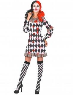 Blutiges Harlekin-Kostüm Halloweenkostüm für Damen schwarz-weiss