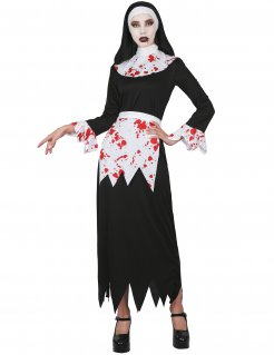 Blutiges Nonnen-Kostüm Halloweenkostüm für Damen schwarz-weiss-rot