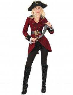 Piratenverkleidung für Damen rot-schwarz-goldfarben