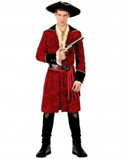 Elegantes Piraten-Kostüm für Herren Piratenkapitän rot