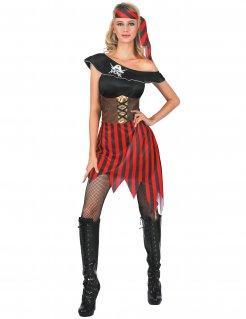 Heißes Piraten-Damenkostüm schwarz-rot-weiss