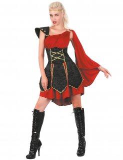 Edles Gladiatorin-Kostüm Antike-Damenkostüm schwarz-rot