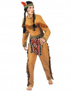 Indianer-Kostüm mit Schürze Karnevalskostüm für Herren braun-bunt