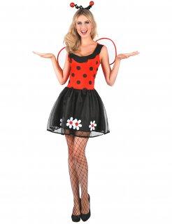 Süsses Marienkäfer-Kleid Marienkäfer-Kostüm für Damen schwarz-rot