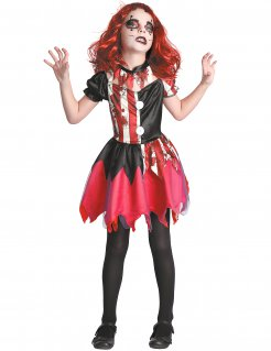 Horrorclown-Verkleidung für Mädchen schwarz-weiss-rot