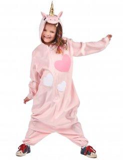 Einhorn-Kinderkostüm für Mädchen rosa-weiss
