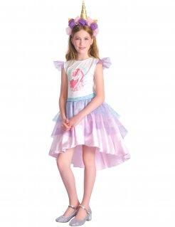 Einhorn-Kostüm für Mädchen weiss-flieder-rosa