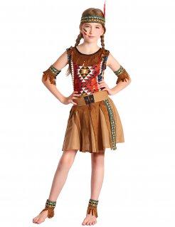 Farbkräftiges Indianer-Kostüm für Mädchen Faschingskostüm für Kinder braun-bunt
