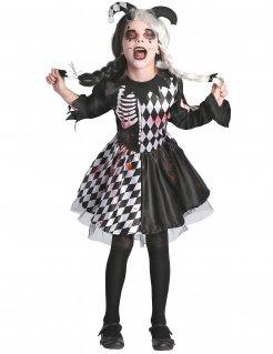 Horrorclown Mädchenkostüm schwarz-weiss