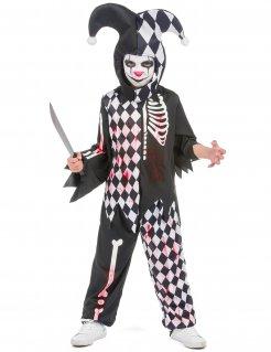 Horrorclown-Kostüm für Jungen schwarz-weiss-rot