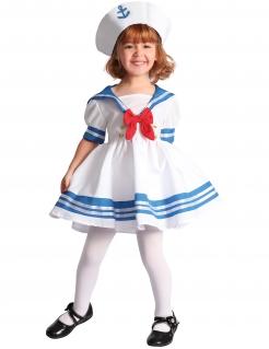 Süsses Matrosin-Kostüm für Mädchen Berufskostüm für Kinder weiss-blau