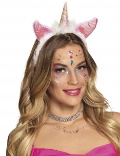 Einhorn-Haarreifen Kopfschmuck Accessoire rosa-weiss