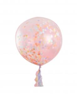 Grosse Latex-Ballons mit Konfetti 3 Stück rosa 91 cm