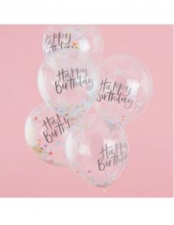 Luftballons Happy Birthday mit Konfetti Deko 5 Stück transparent-bunt 30cm